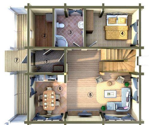 Фото и примеры планировки домов 8х8. Популярные планировки